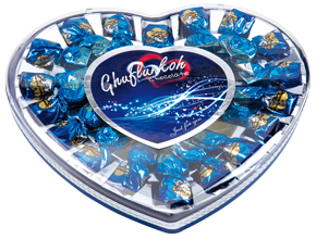 Chocolate Heart Blue Gift